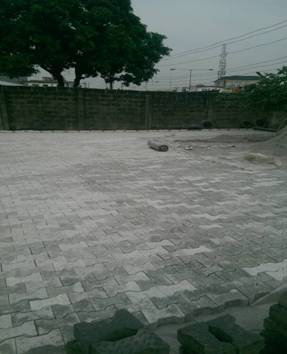 Landscapping works with 8mm interlocking stones at Ikeja